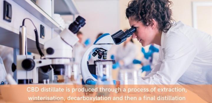 How is CBD distillate produced