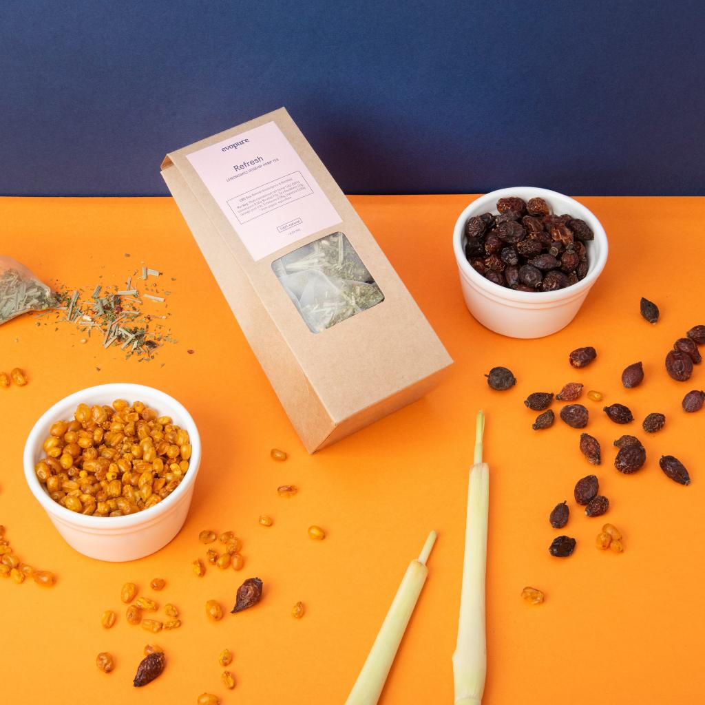 Lemongrass rosehip hemp tea ingredients
